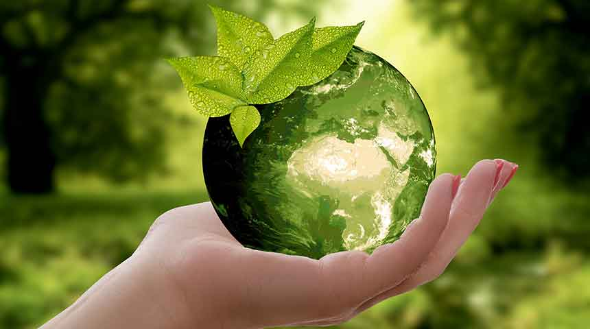 Green Earth Held in the Hand